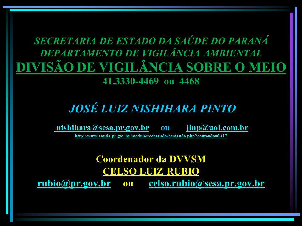 SECRETARIA DE ESTADO DA SAÚDE DO PARANÁ DEPARTAMENTO DE VIGILÂNCIA AMBIENTAL DIVISÃO DE VIGILÂNCIA SOBRE O MEIO 41.3330-4469 ou 4468 JOSÉ LUIZ NISHIHARA PINTO nishihara@sesa.pr.gov.br ou jlnp@uol.com.br http://www.saude.pr.gov.br/modules/conteudo/conteudo.php?conteudo=1417 Coordenador da DVVSM CELSO LUIZ RUBIO rubio@pr.gov.br ou celso.rubio@sesa.pr.gov.br nishihara@sesa.pr.gov.brjlnp@uol.com.br http://www.saude.pr.gov.br/modules/conteudo/conteudo.php?conteudo=1417 rubio@pr.gov.brcelso.rubio@sesa.pr.gov.br