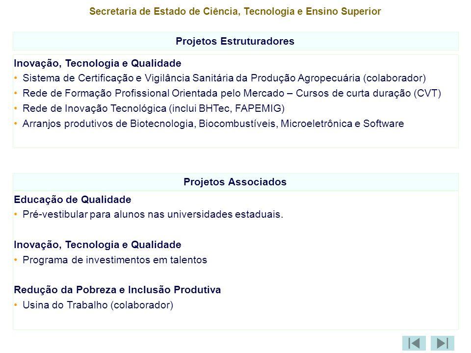 Secretaria de Estado de Ciência, Tecnologia e Ensino Superior Projetos Estruturadores Inovação, Tecnologia e Qualidade Sistema de Certificação e Vigilância Sanitária da Produção Agropecuária (colaborador) Rede de Formação Profissional Orientada pelo Mercado – Cursos de curta duração (CVT) Rede de Inovação Tecnológica (inclui BHTec, FAPEMIG) Arranjos produtivos de Biotecnologia, Biocombustíveis, Microeletrônica e Software Projetos Associados Educação de Qualidade Pré-vestibular para alunos nas universidades estaduais.