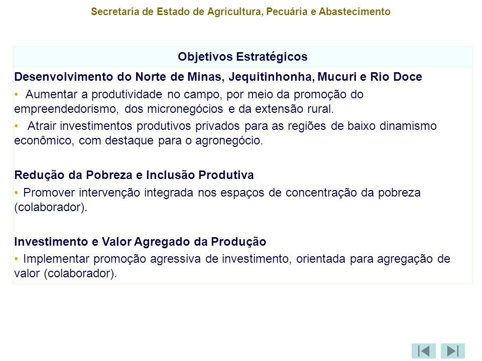 Secretaria de Estado de Agricultura, Pecuária e Abastecimento Objetivos Estratégicos Desenvolvimento do Norte de Minas, Jequitinhonha, Mucuri e Rio Doce Aumentar a produtividade no campo, por meio da promoção do empreendedorismo, dos micronegócios e da extensão rural.