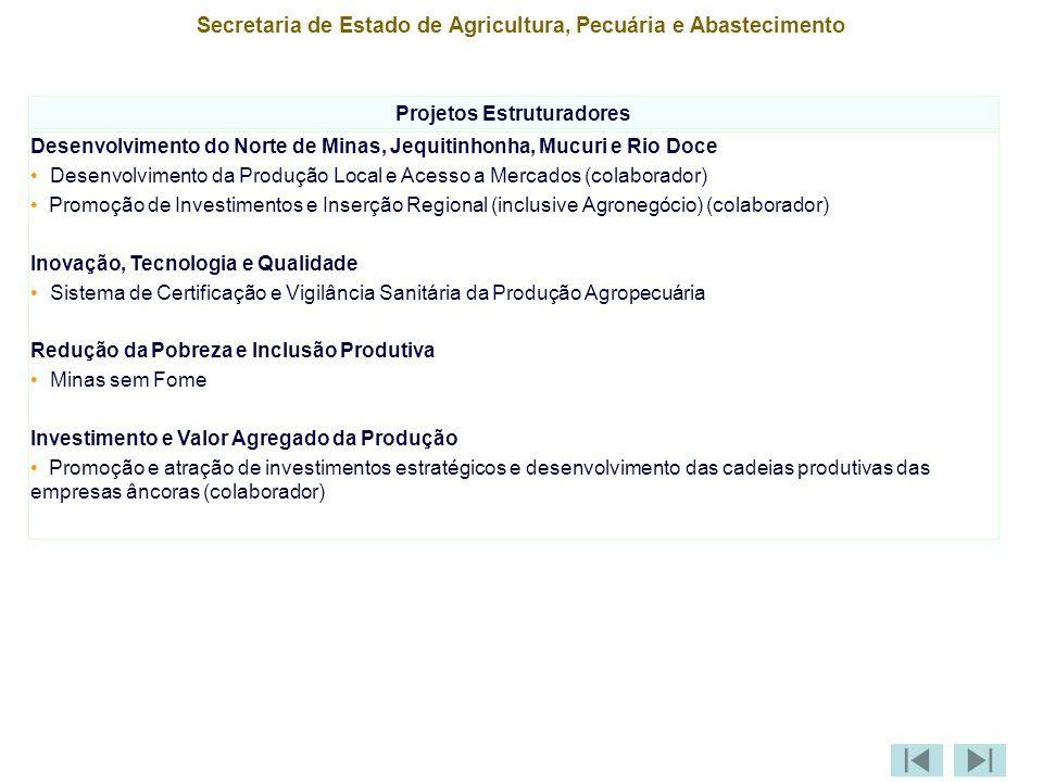 Secretaria de Estado de Agricultura, Pecuária e Abastecimento Projetos Estruturadores Desenvolvimento do Norte de Minas, Jequitinhonha, Mucuri e Rio Doce Desenvolvimento da Produção Local e Acesso a Mercados (colaborador) Promoção de Investimentos e Inserção Regional (inclusive Agronegócio) (colaborador) Inovação, Tecnologia e Qualidade Sistema de Certificação e Vigilância Sanitária da Produção Agropecuária Redução da Pobreza e Inclusão Produtiva Minas sem Fome Investimento e Valor Agregado da Produção Promoção e atração de investimentos estratégicos e desenvolvimento das cadeias produtivas das empresas âncoras (colaborador)