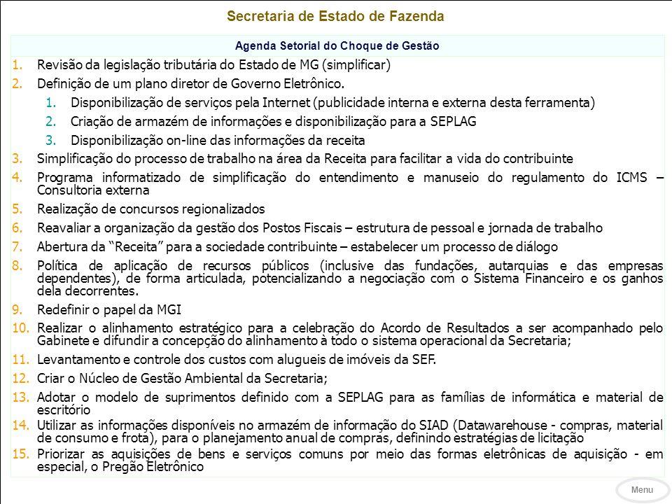 Secretaria de Estado de Fazenda Agenda Setorial do Choque de Gestão 1.Revisão da legislação tributária do Estado de MG (simplificar) 2.Definição de um plano diretor de Governo Eletrônico.