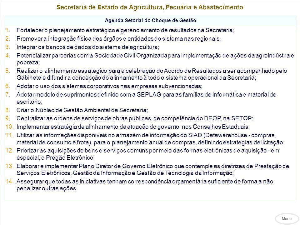 Secretaria de Estado de Meio Ambiente e Desenvolvimento Sustentável Objetivos Estratégicos Qualidade Ambiental Ampliar o tratamento de resíduos sólidos Apoiar os comitês de bacias hidrográficas Conservar o Cerrado e recuperar a Mata Atlântica Promover a gestão eficiente dos passivos de mineração e indústrias Promover investimentos privados com externalidades ambientais positivas Aprimorar a gestão de bacias hidrográficas, visando disponibilidade e qualidade de água e redução dos conflitos em torno de seu uso Adotar metas de sustentabilidade e qualidade ambiental e consolidar o sistema de monitoramento Concluir o zoneamento econômico-ecológico (uso da terra) Investimento e Valor Agregado da Produção Construir um ambiente de negócios favorável e atrativo aos investimentos produtivos: conferir maior agilidade e efetividade ao licenciamento ambiental Vida Saudável Ampliar o acesso ao saneamento básico (colaborador)