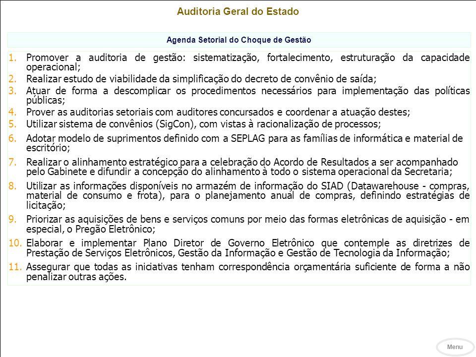 Auditoria Geral do Estado Agenda Setorial do Choque de Gestão 1.Promover a auditoria de gestão: sistematização, fortalecimento, estruturação da capacidade operacional; 2.Realizar estudo de viabilidade da simplificação do decreto de convênio de saída; 3.Atuar de forma a descomplicar os procedimentos necessários para implementação das políticas públicas; 4.Prover as auditorias setoriais com auditores concursados e coordenar a atuação destes; 5.Utilizar sistema de convênios (SigCon), com vistas à racionalização de processos; 6.Adotar modelo de suprimentos definido com a SEPLAG para as famílias de informática e material de escritório; 7.Realizar o alinhamento estratégico para a celebração do Acordo de Resultados a ser acompanhado pelo Gabinete e difundir a concepção do alinhamento à todo o sistema operacional da Secretaria; 8.Utilizar as informações disponíveis no armazém de informação do SIAD (Datawarehouse - compras, material de consumo e frota), para o planejamento anual de compras, definindo estratégias de licitação; 9.Priorizar as aquisições de bens e serviços comuns por meio das formas eletrônicas de aquisição - em especial, o Pregão Eletrônico; 10.Elaborar e implementar Plano Diretor de Governo Eletrônico que contemple as diretrizes de Prestação de Serviços Eletrônicos, Gestão da Informação e Gestão de Tecnologia da Informação; 11.Assegurar que todas as iniciativas tenham correspondência orçamentária suficiente de forma a não penalizar outras ações.