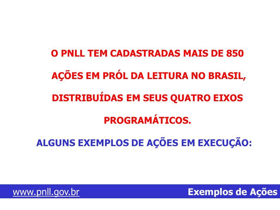 www.pnll.gov.brwww.pnll.gov.br Exemplos de Ações O PNLL TEM CADASTRADAS MAIS DE 850 AÇÕES EM PRÓL DA LEITURA NO BRASIL, DISTRIBUÍDAS EM SEUS QUATRO EI