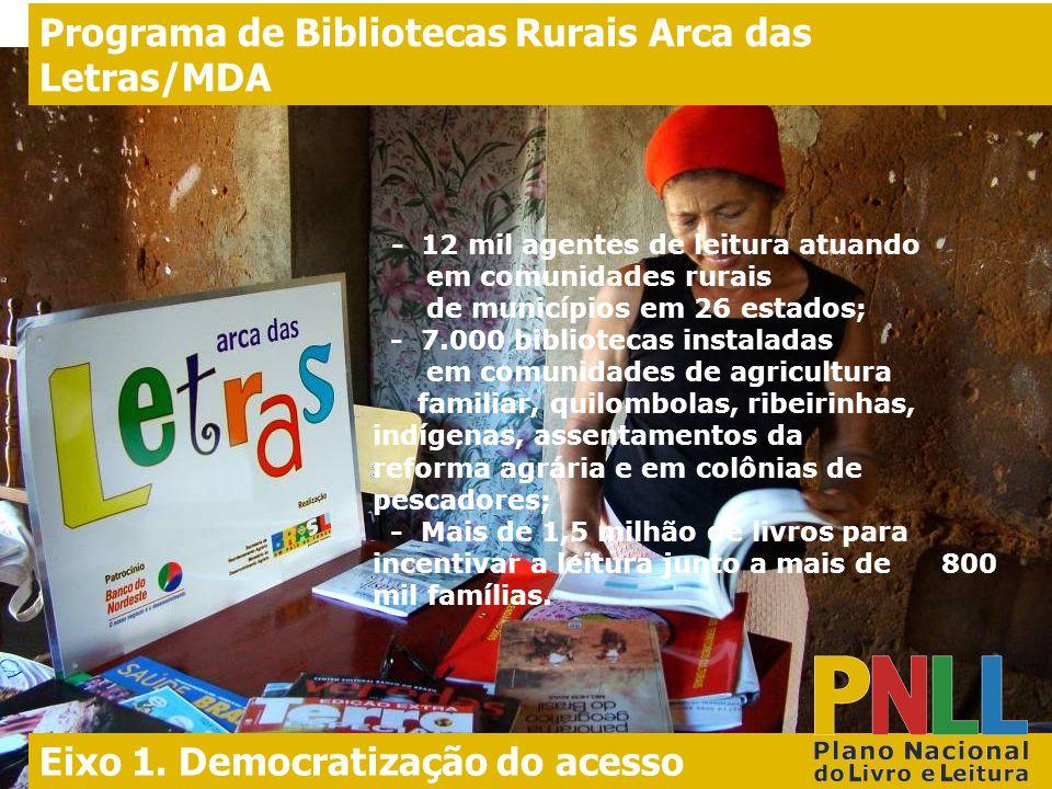 l. - 12 mil agentes de leitura atuando em comunidades rurais de municípios em 26 estados; - 7.000 bibliotecas instaladas em comunidades de agricultura