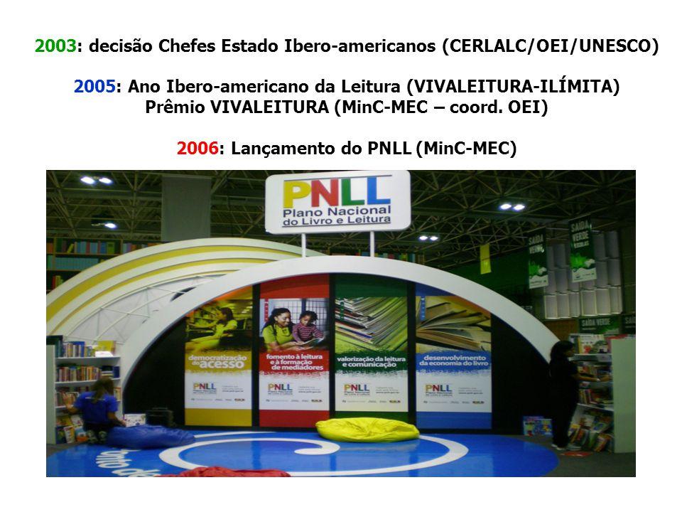 2003: decisão Chefes Estado Ibero-americanos (CERLALC/OEI/UNESCO) 2005: Ano Ibero-americano da Leitura (VIVALEITURA-ILÍMITA) Prêmio VIVALEITURA (MinC-