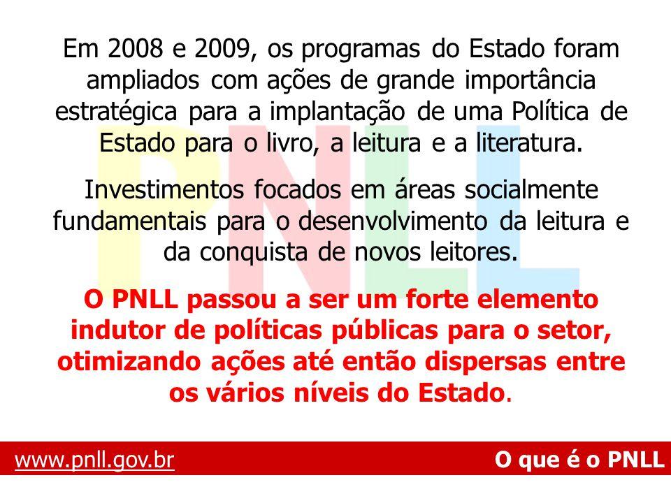 www.pnll.gov.brwww.pnll.gov.br O que é o PNLL Em 2008 e 2009, os programas do Estado foram ampliados com ações de grande importância estratégica para