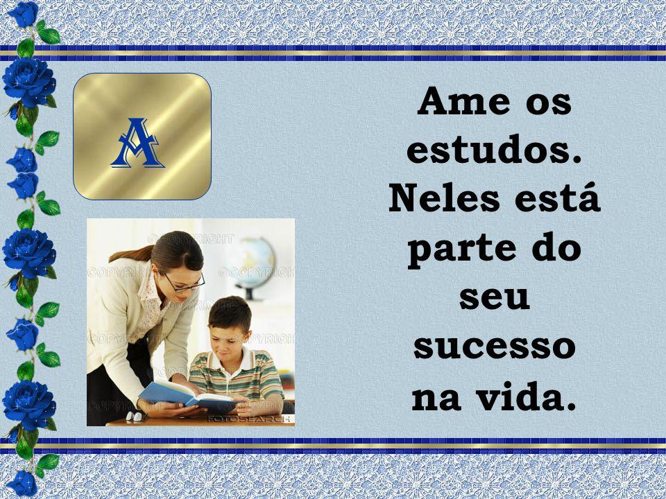 Ame os estudos. Neles está parte do seu sucesso na vida. A