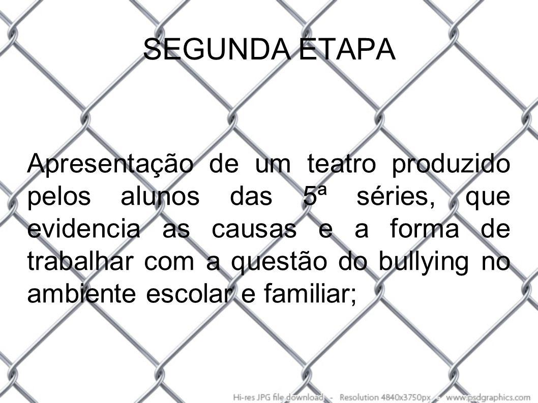 SEGUNDA ETAPA Apresentação de um teatro produzido pelos alunos das 5ª séries, que evidencia as causas e a forma de trabalhar com a questão do bullying