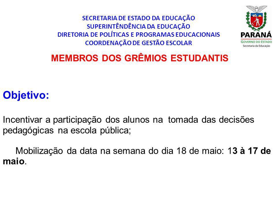 Objetivo: Incentivar a participação dos alunos na tomada das decisões pedagógicas na escola pública; Mobilização da data na semana do dia 18 de maio: