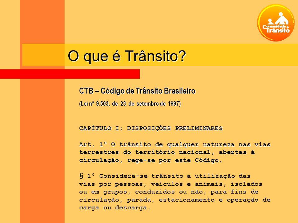 CTB – Código de Trânsito Brasileiro (Lei nº 9.503, de 23 de setembro de 1997) CAPÍTULO I: DISPOSIÇÕES PRELIMINARES Art. 1º O trânsito de qualquer natu