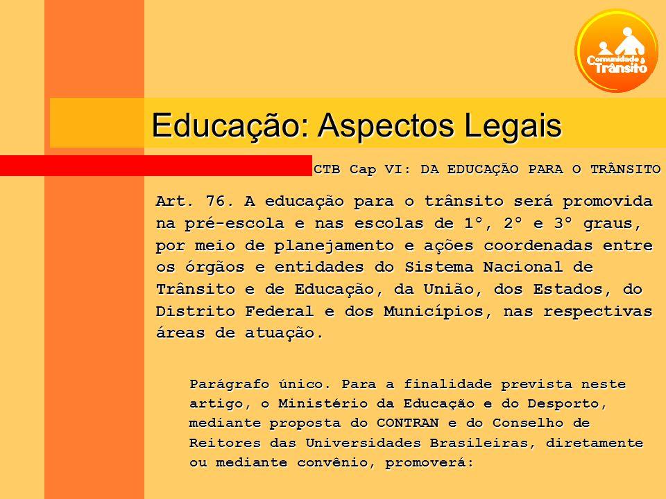 Educação: Aspectos Legais Art. 76. A educação para o trânsito será promovida na pré-escola e nas escolas de 1º, 2º e 3º graus, por meio de planejament