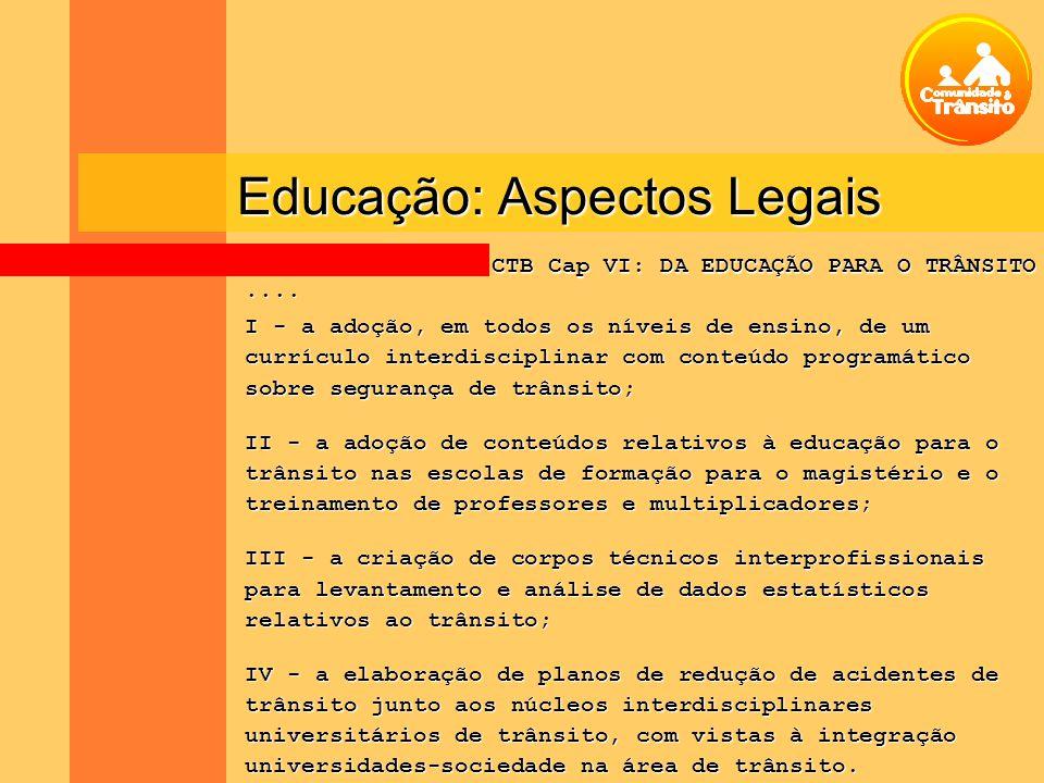Educação: Aspectos Legais.... I - a adoção, em todos os níveis de ensino, de um currículo interdisciplinar com conteúdo programático sobre segurança d