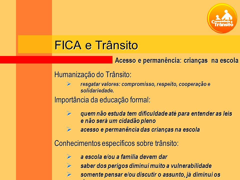 FICA e Trânsito Humanização do Trânsito: resgatar valores: compromisso, respeito, cooperação e solidariedade. resgatar valores: compromisso, respeito,