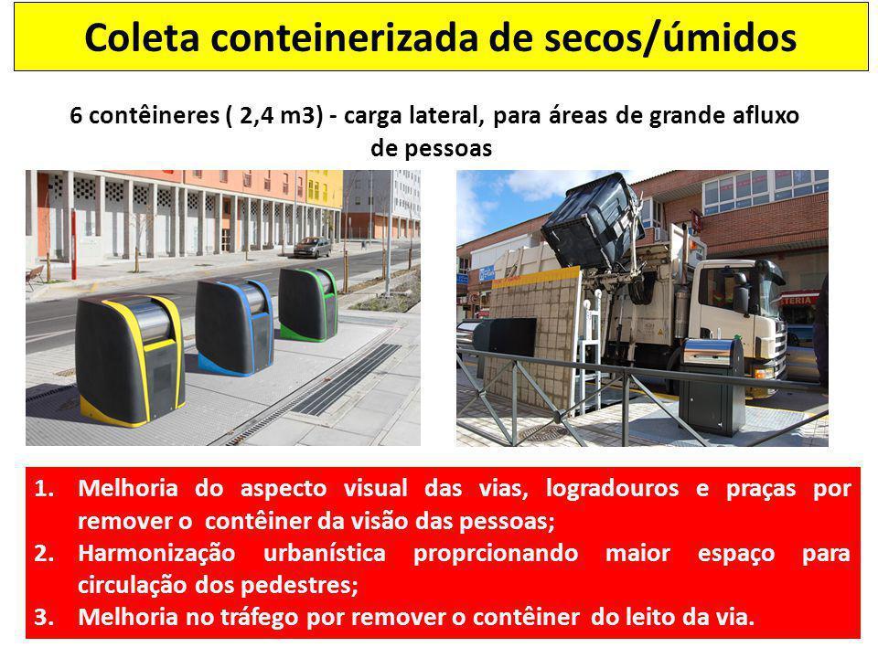 6 contêineres ( 2,4 m3) - carga lateral, para áreas de grande afluxo de pessoas 1.Melhoria do aspecto visual das vias, logradouros e praças por remove