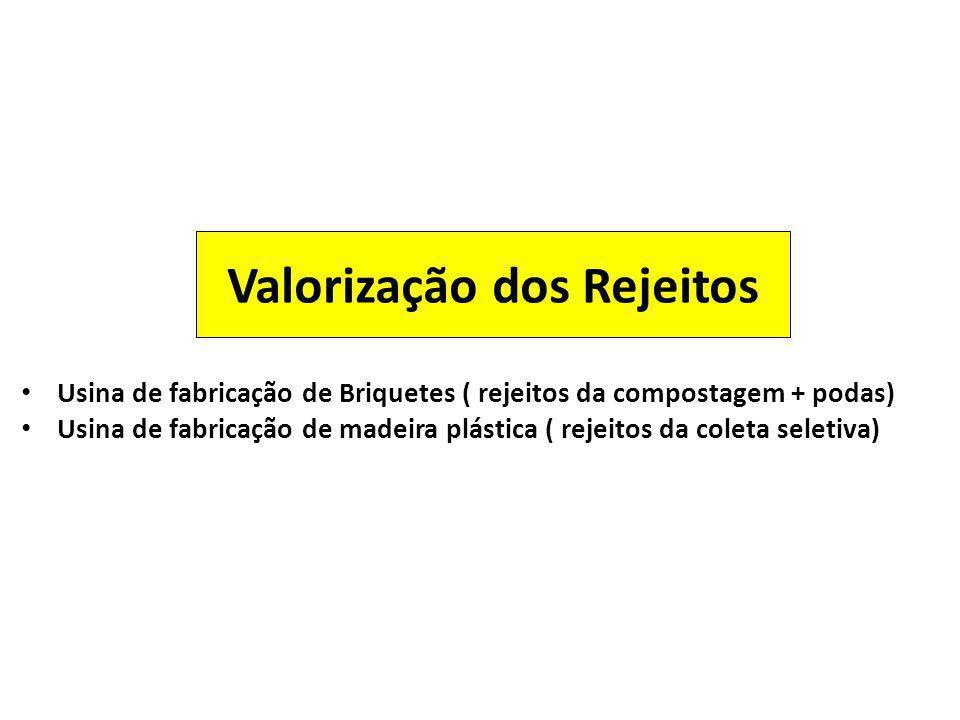 Valorização dos Rejeitos Usina de fabricação de Briquetes ( rejeitos da compostagem + podas) Usina de fabricação de madeira plástica ( rejeitos da col