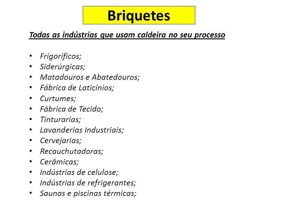 Todas as indústrias que usam caldeira no seu processo Frigoríficos; Siderúrgicas; Matadouros e Abatedouros; Fábrica de Laticínios; Curtumes; Fábrica d