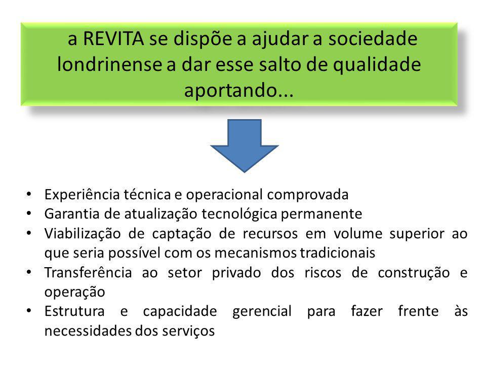 a REVITA se dispõe a ajudar a sociedade londrinense a dar esse salto de qualidade aportando... Experiência técnica e operacional comprovada Garantia d