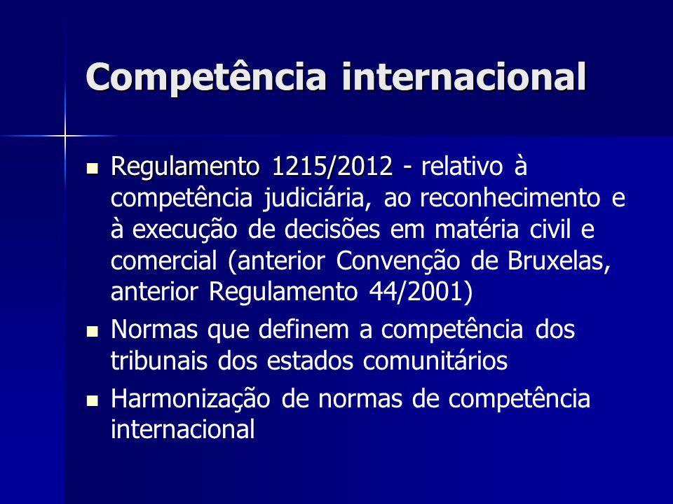 Competência internacional Regulamento 1215/2012 - Regulamento 1215/2012 - relativo à competência judiciária, ao reconhecimento e à execução de decisõe