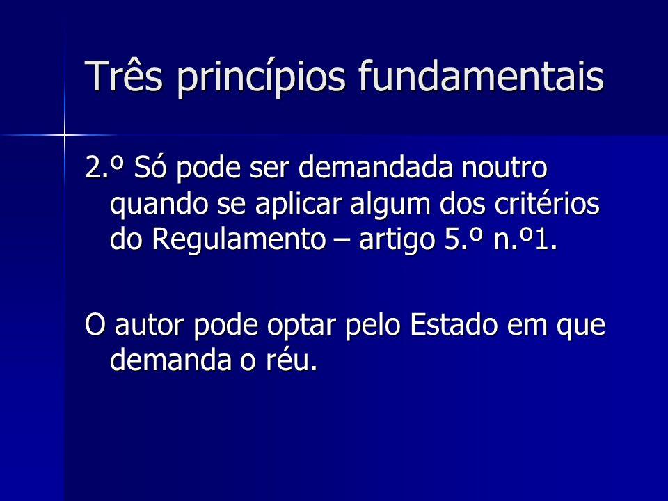 Três princípios fundamentais 2.º Só pode ser demandada noutro quando se aplicar algum dos critérios do Regulamento – artigo 5.º n.º1. O autor pode opt
