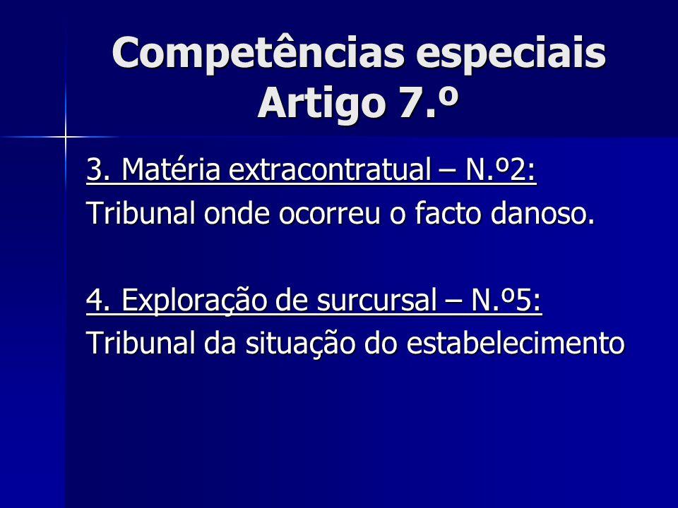 Competências especiais Artigo 7.º 3. Matéria extracontratual – N.º2: Tribunal onde ocorreu o facto danoso. 4. Exploração de surcursal – N.º5: Tribunal