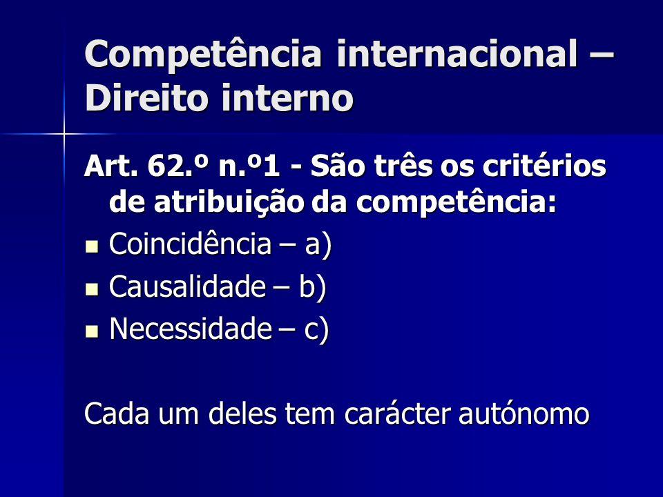 Competência internacional – Direito interno Art. 62.º n.º1 - São três os critérios de atribuição da competência: Coincidência – a) Coincidência – a) C