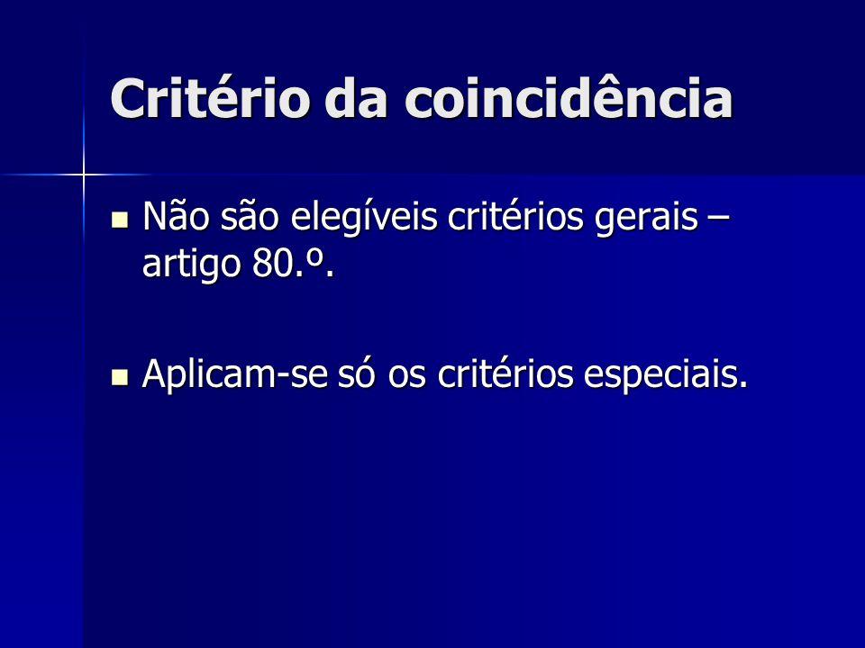 Critério da coincidência Não são elegíveis critérios gerais – artigo 80.º. Não são elegíveis critérios gerais – artigo 80.º. Aplicam-se só os critério