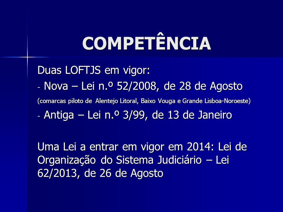 COMPETÊNCIA Duas LOFTJS em vigor: - Nova – Lei n.º 52/2008, de 28 de Agosto (comarcas piloto de Alentejo Litoral, Baixo Vouga e Grande Lisboa-Noroeste