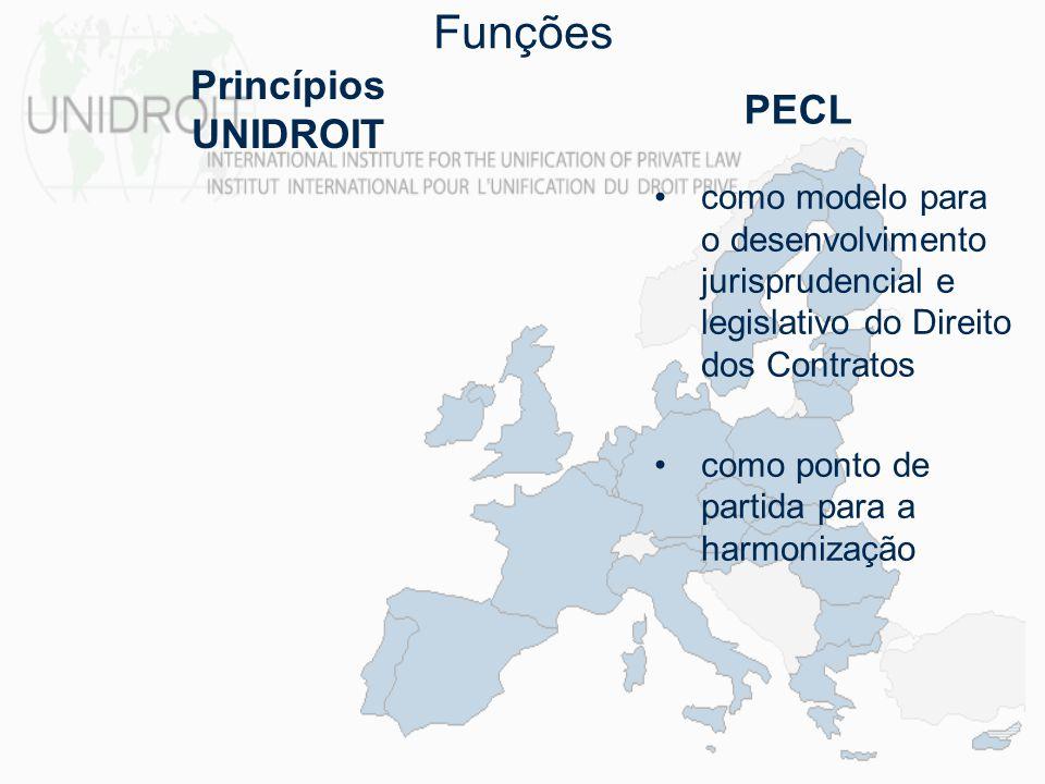 Funções como modelo para o desenvolvimento jurisprudencial e legislativo do Direito dos Contratos como ponto de partida para a harmonização Princípios