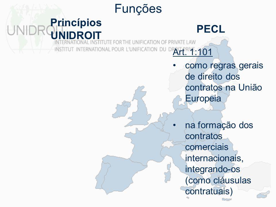 Funções Art. 1:101 como regras gerais de direito dos contratos na União Europeia na formação dos contratos comerciais internacionais, integrando-os (c