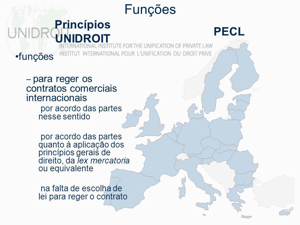 funções – para reger os contratos comerciais internacionais por acordo das partes nesse sentido por acordo das partes quanto à aplicação dos princípio