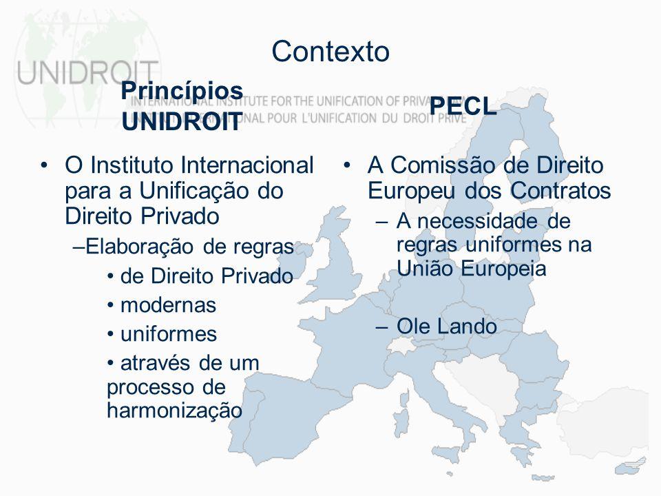 Contexto O Instituto Internacional para a Unificação do Direito Privado –Elaboração de regras de Direito Privado modernas uniformes através de um proc