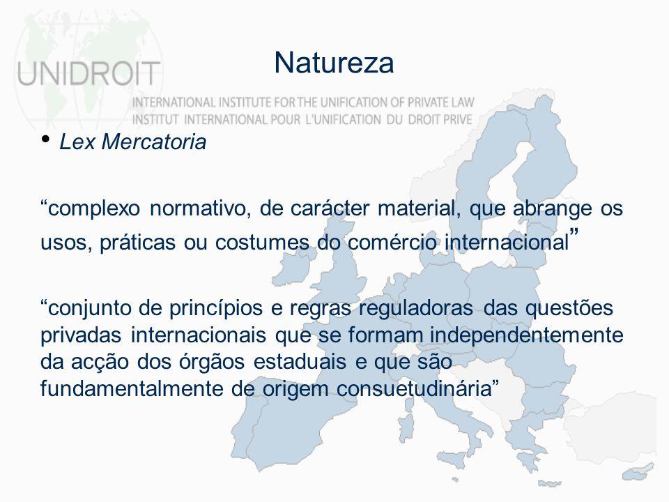 Natureza Lex Mercatoria complexo normativo, de carácter material, que abrange os usos, práticas ou costumes do comércio internacional conjunto de prin