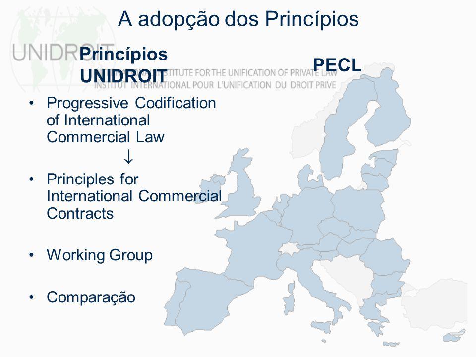 1994 Acompanhamento 2004 A adopção dos Princípios Primeira Comissão 1982 – 1995 Segunda Comissão 1992 – 1999 Terceira Comissão 1997 - 2002 Comparação Princípios UNIDROIT PECL