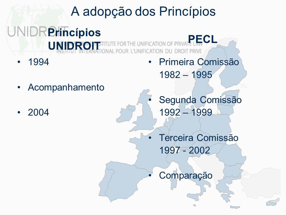 compilação de um conjunto de regras adequadas ao comércio internacional, aplicáveis em todo o mundo –regras equilibradas –regras adequadas a serem utilizadas em todo o mundo –regras flexíveis –boa fé Objectivos facilitação do comércio europeu e construção de um mercado único facilitação das trocas na Europa consolidação do Mercado Único Europeu criação de uma base para a Legislação Europeia em matéria de Contratos Princípios UNIDROIT PECL