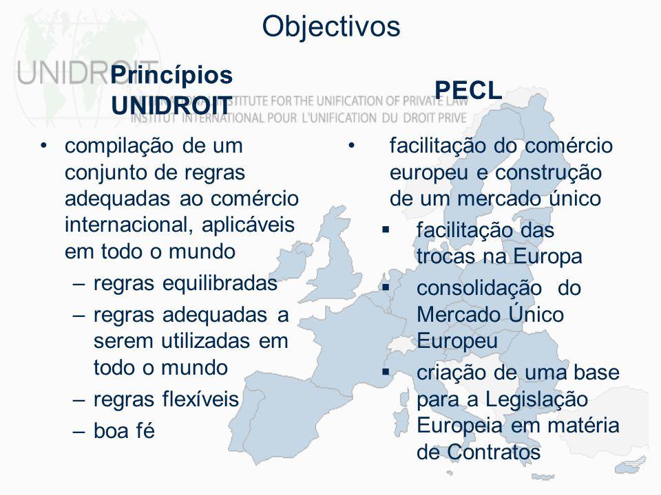 Objectivos disponibilização de um guia/roteiro aos Juízes e Legisladores nacionais construção de uma ponte entre a Civil Law e a Common Law Princípios UNIDROIT PECL