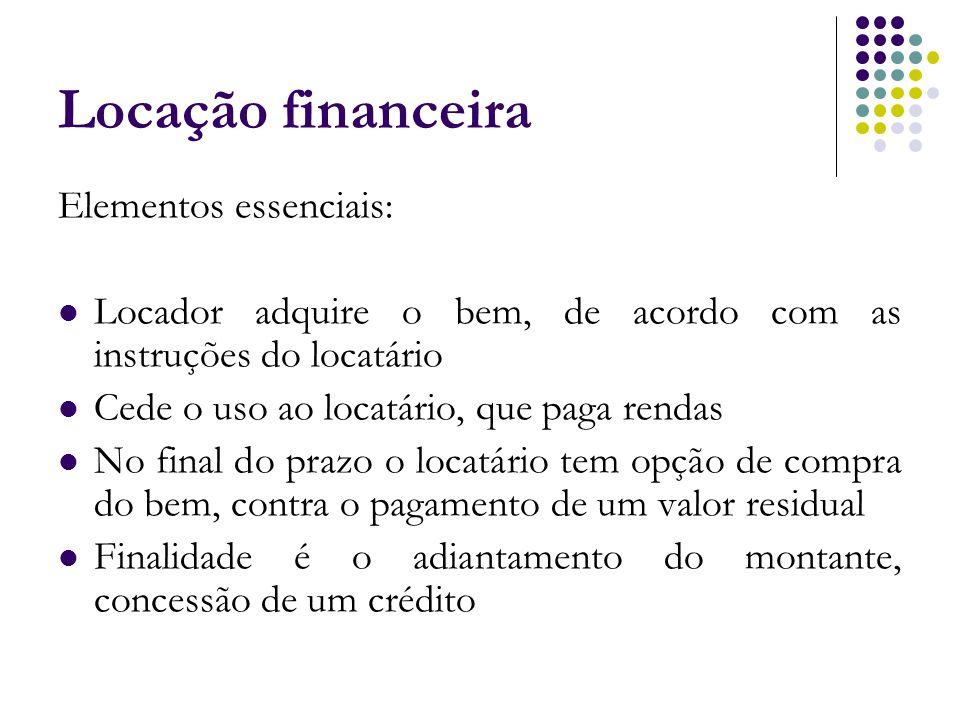 Locação financeira Elementos essenciais: Locador adquire o bem, de acordo com as instruções do locatário Cede o uso ao locatário, que paga rendas No f