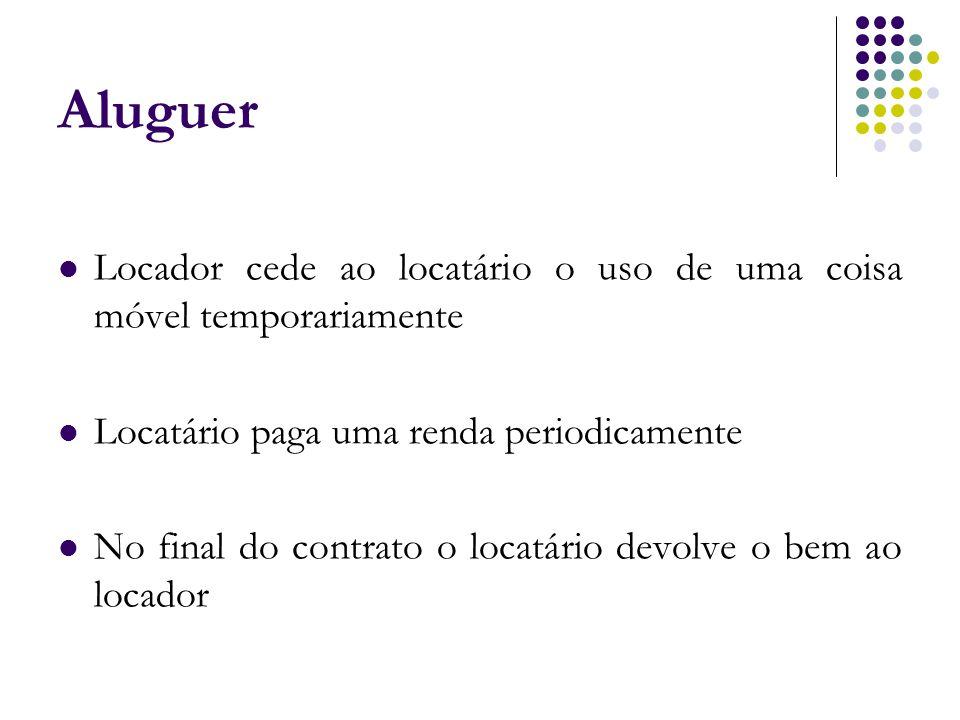 Aluguer Locador cede ao locatário o uso de uma coisa móvel temporariamente Locatário paga uma renda periodicamente No final do contrato o locatário de