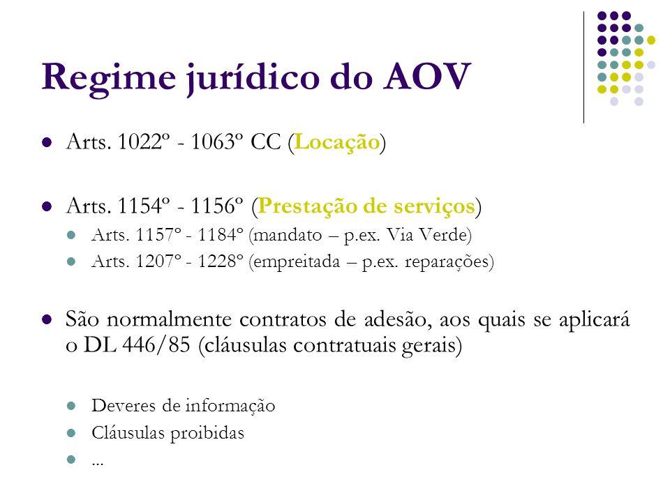 Regime jurídico do AOV Arts. 1022º - 1063º CC (Locação) Arts. 1154º - 1156º (Prestação de serviços) Arts. 1157º - 1184º (mandato – p.ex. Via Verde) Ar