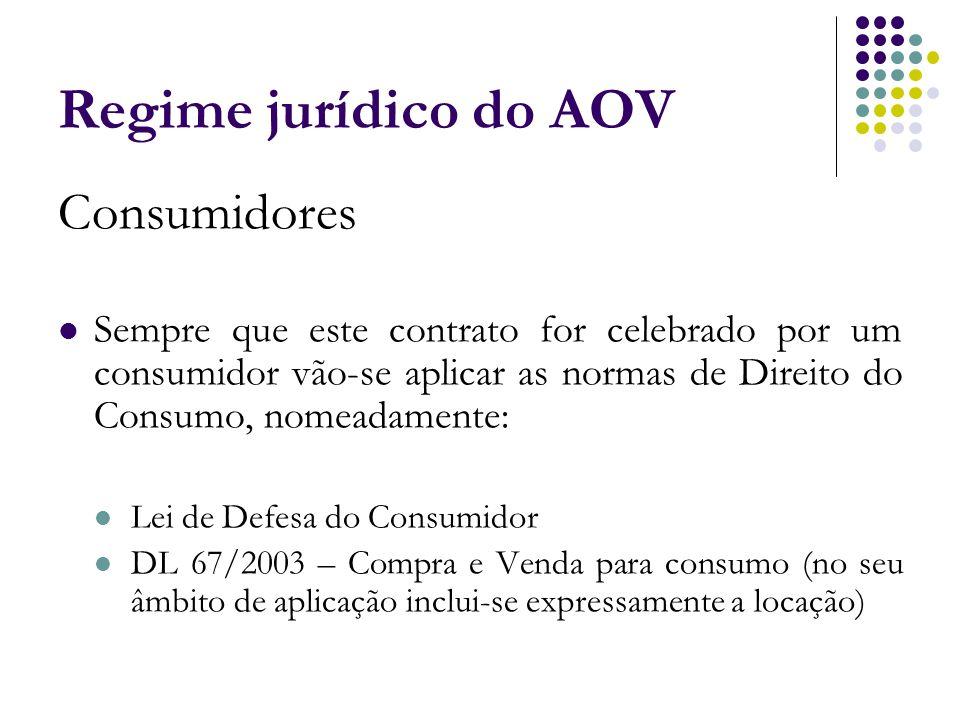 Regime jurídico do AOV Consumidores Sempre que este contrato for celebrado por um consumidor vão-se aplicar as normas de Direito do Consumo, nomeadame