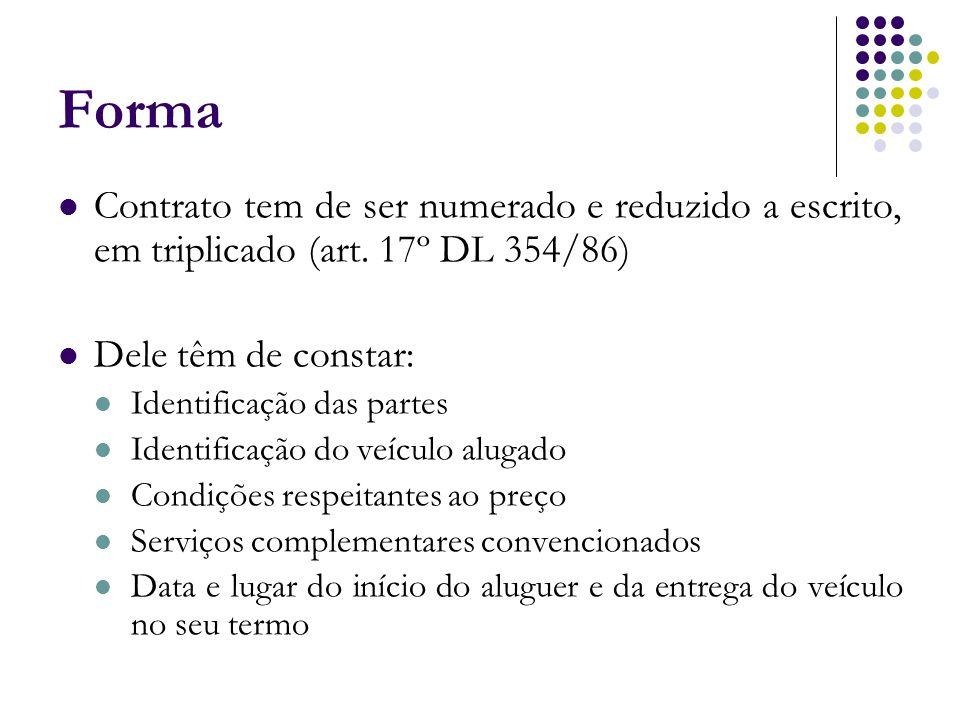 Forma Contrato tem de ser numerado e reduzido a escrito, em triplicado (art. 17º DL 354/86) Dele têm de constar: Identificação das partes Identificaçã