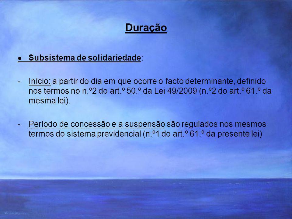 Duração Subsistema de solidariedade: -Início: a partir do dia em que ocorre o facto determinante, definido nos termos no n.º2 do art.º 50.º da Lei 49/2009 (n.º2 do art.º 61.º da mesma lei).