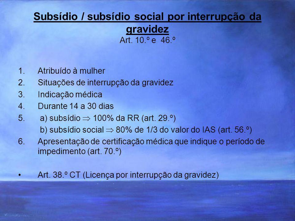 Subsídio / subsídio social por interrupção da gravidez Art.