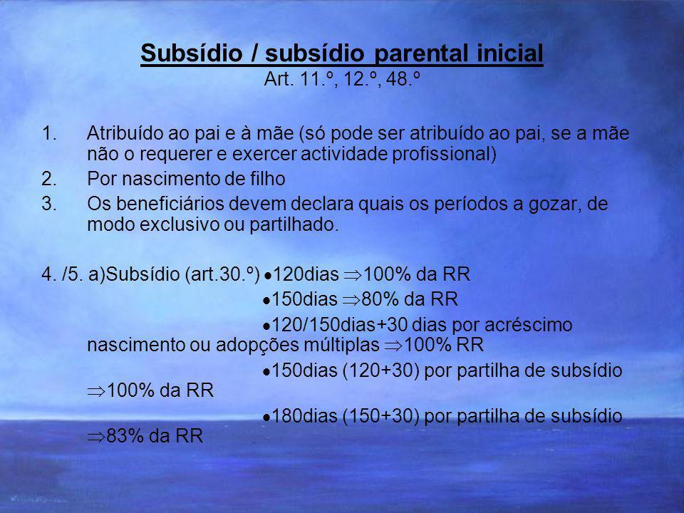 Subsídio / subsídio parental inicial Art.