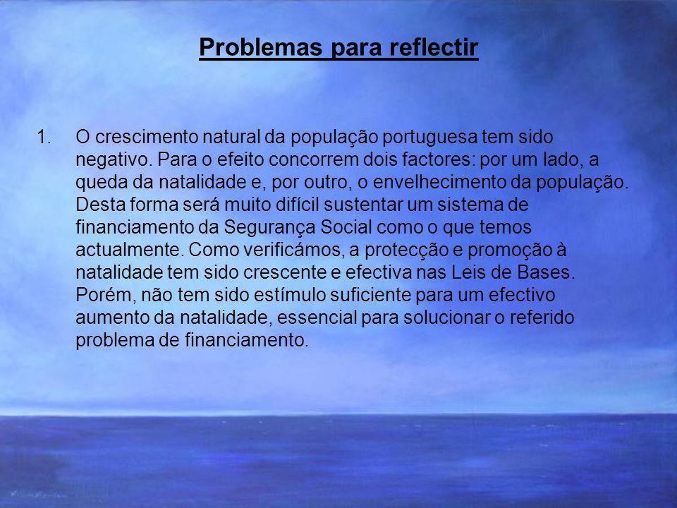 Problemas para reflectir 1.O crescimento natural da população portuguesa tem sido negativo.