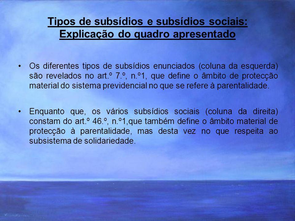 Tipos de subsídios e subsídios sociais: Explicação do quadro apresentado Os diferentes tipos de subsídios enunciados (coluna da esquerda) são revelados no art.º 7.º, n.º1, que define o âmbito de protecção material do sistema previdencial no que se refere à parentalidade.