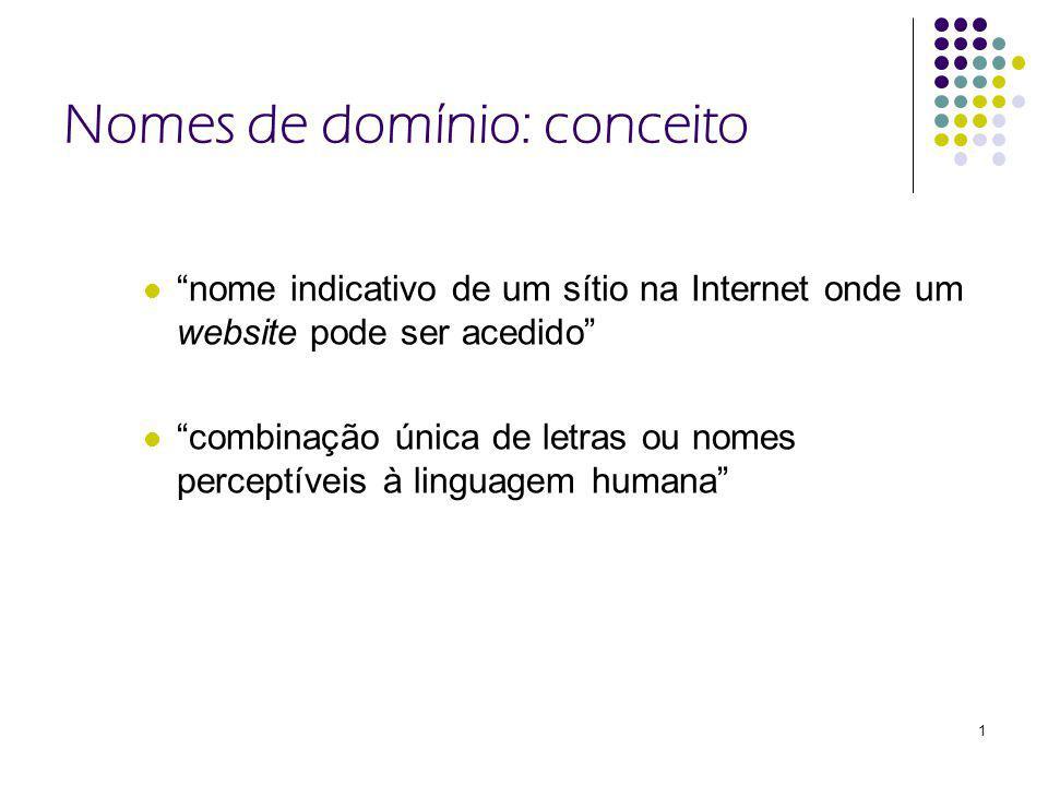 1 Nomes de domínio: conceito nome indicativo de um sítio na Internet onde um website pode ser acedido combinação única de letras ou nomes perceptíveis à linguagem humana
