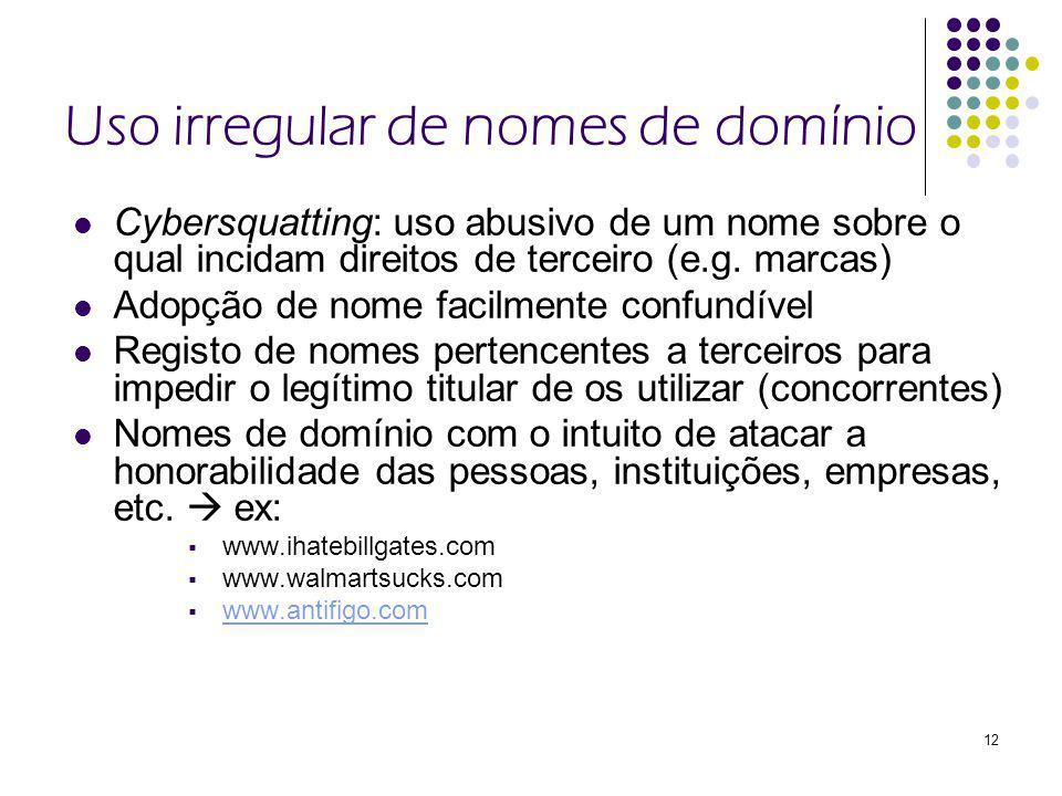 12 Uso irregular de nomes de domínio Cybersquatting: uso abusivo de um nome sobre o qual incidam direitos de terceiro (e.g.