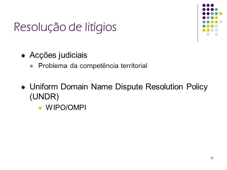 13 Resolução de litígios Acções judiciais Problema da competência territorial Uniform Domain Name Dispute Resolution Policy (UNDR) WIPO/OMPI