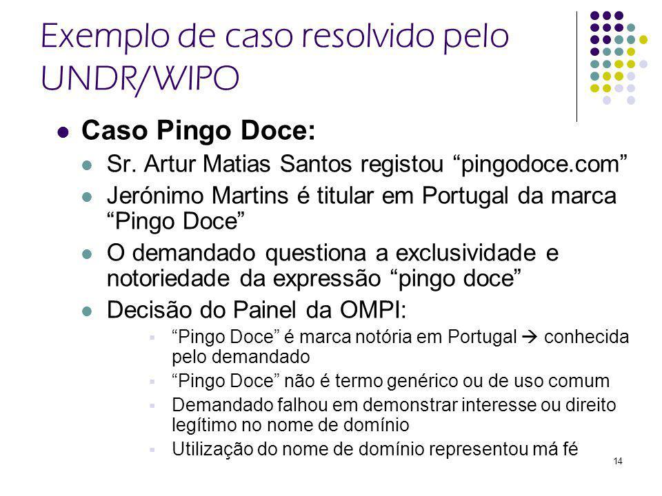 14 Exemplo de caso resolvido pelo UNDR/WIPO Caso Pingo Doce: Sr.